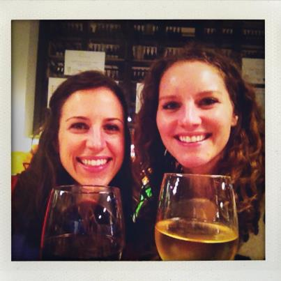 Twin and I loving our wine and spaghetti squash bruschetta at Eataly!